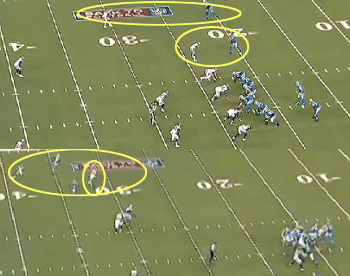 Slot cornerback Cortland Finnegan looks to be abdicating his responsibility, but he's really baiting the QB for a big play.