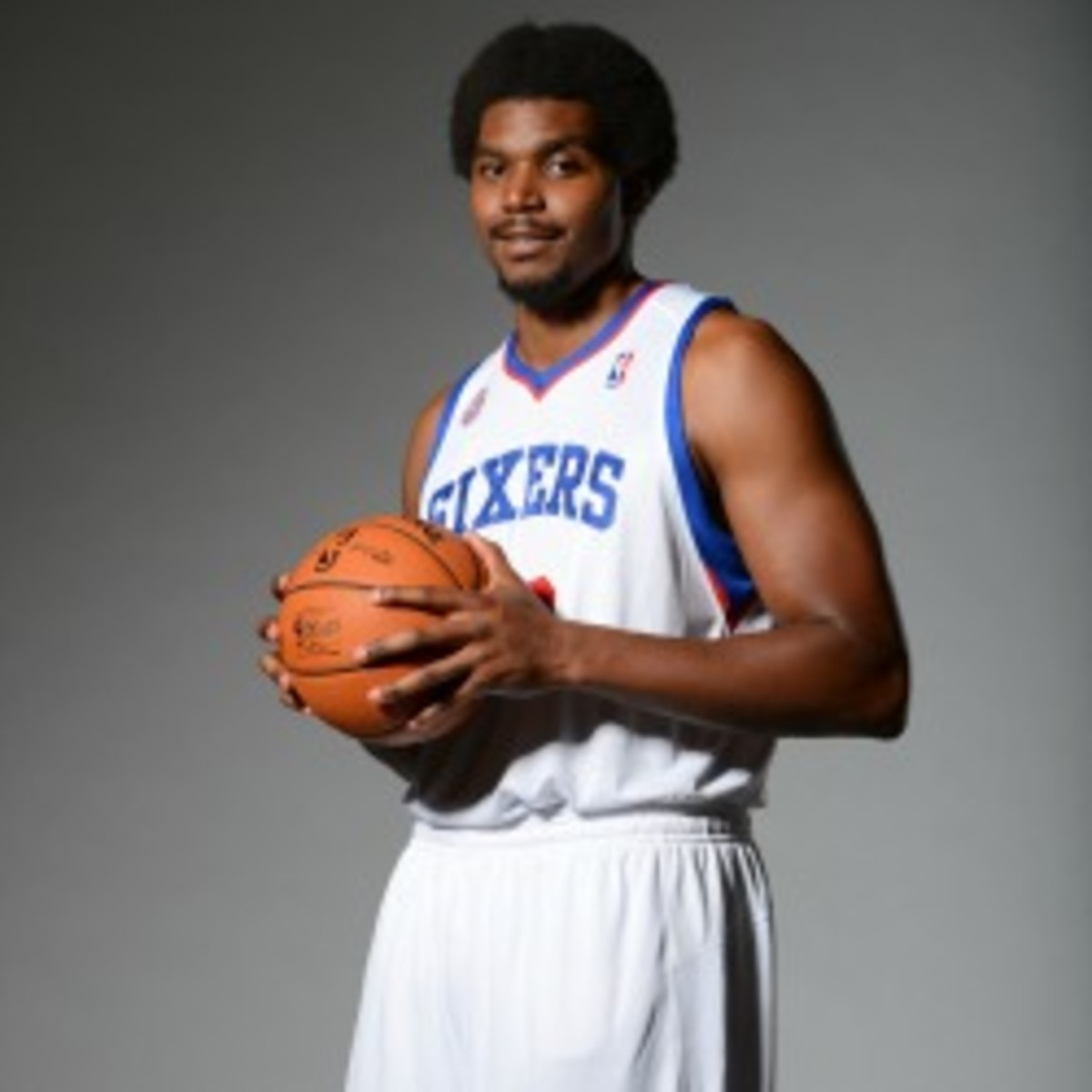 Sixers center Andrew Bynum has yet to play in a game this season due to bruises and weakened cartilage in his knees. (Jesse D. Garrabrant/Getty Images)