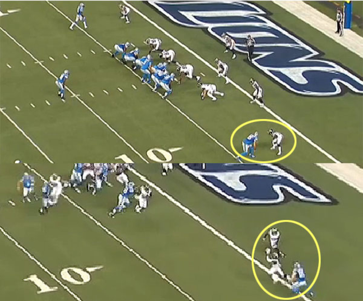 Pick #1: Stafford takes a two-step drop and underthrows his target against an adjusting defense.