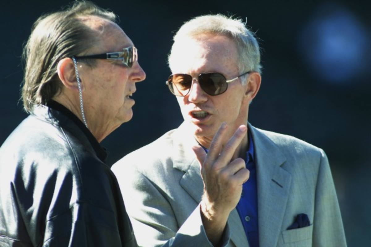 Al Davis and Jerry Jones enjoyed shaking up the NFL before Davis' death in 200?. (Jed Jacobsohn/Getty Images)