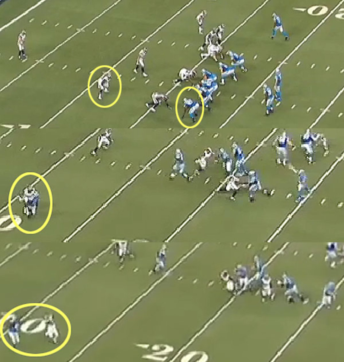 Stafford misses a linebacker cheating to the seam, and pays the price.