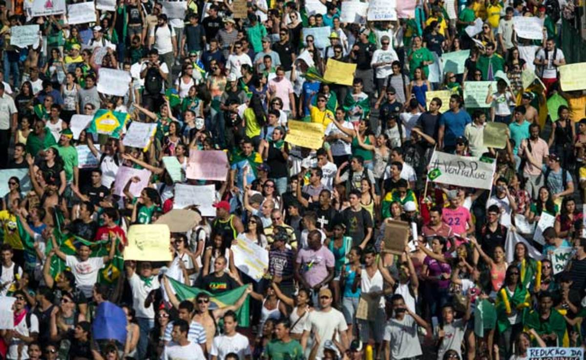 An estimated 60,000 demonstrators gathered in Belo Horizonte on Saturday.