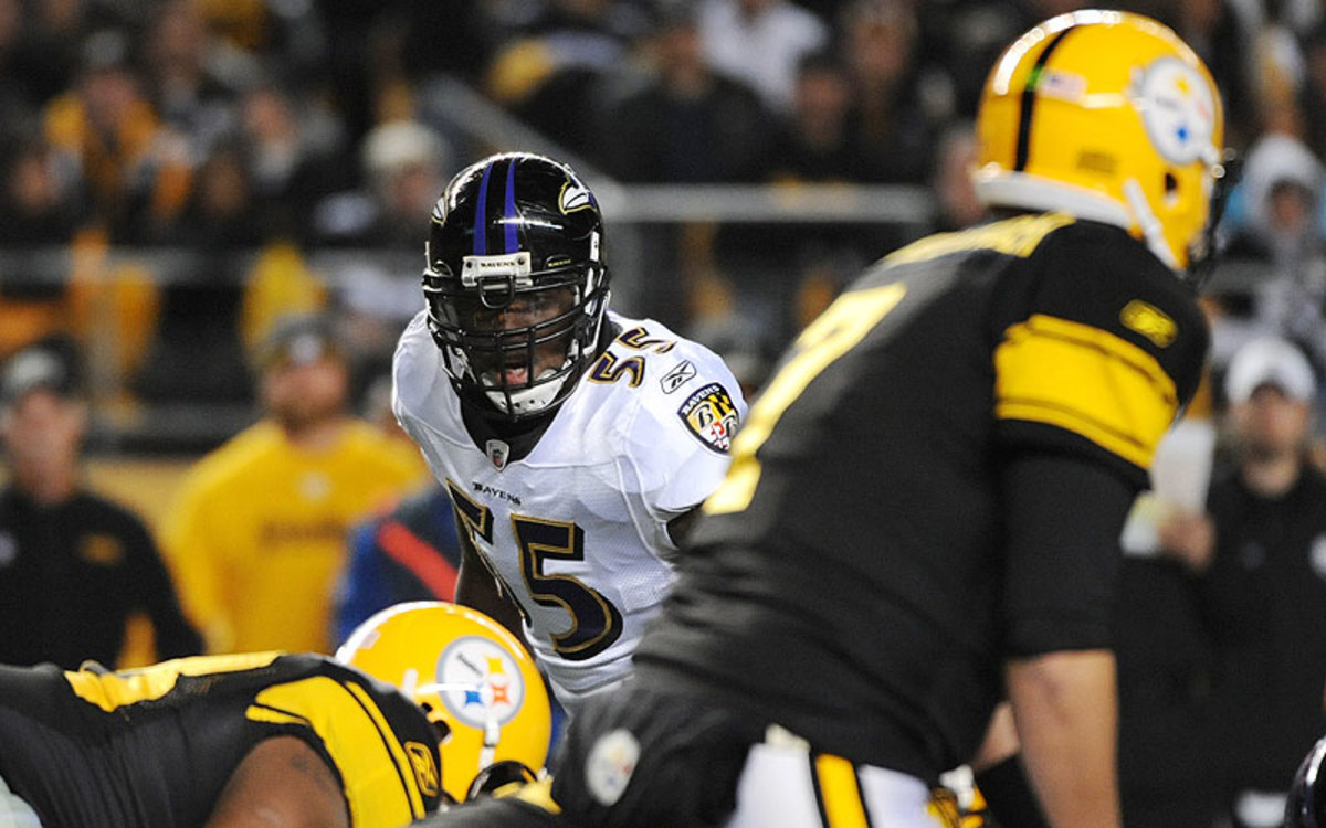 Terrell Suggs and the Ravens defense's ability to pressure Ben Roethlisberger could tell the story of Thursday's game in Baltimore. (George Gojkovich/Getty Images)