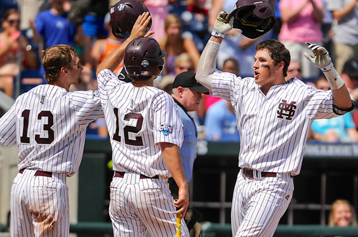 Mississippi State's Hunter Renfroe (right) has the power to make UCLA's pitchers pay.
