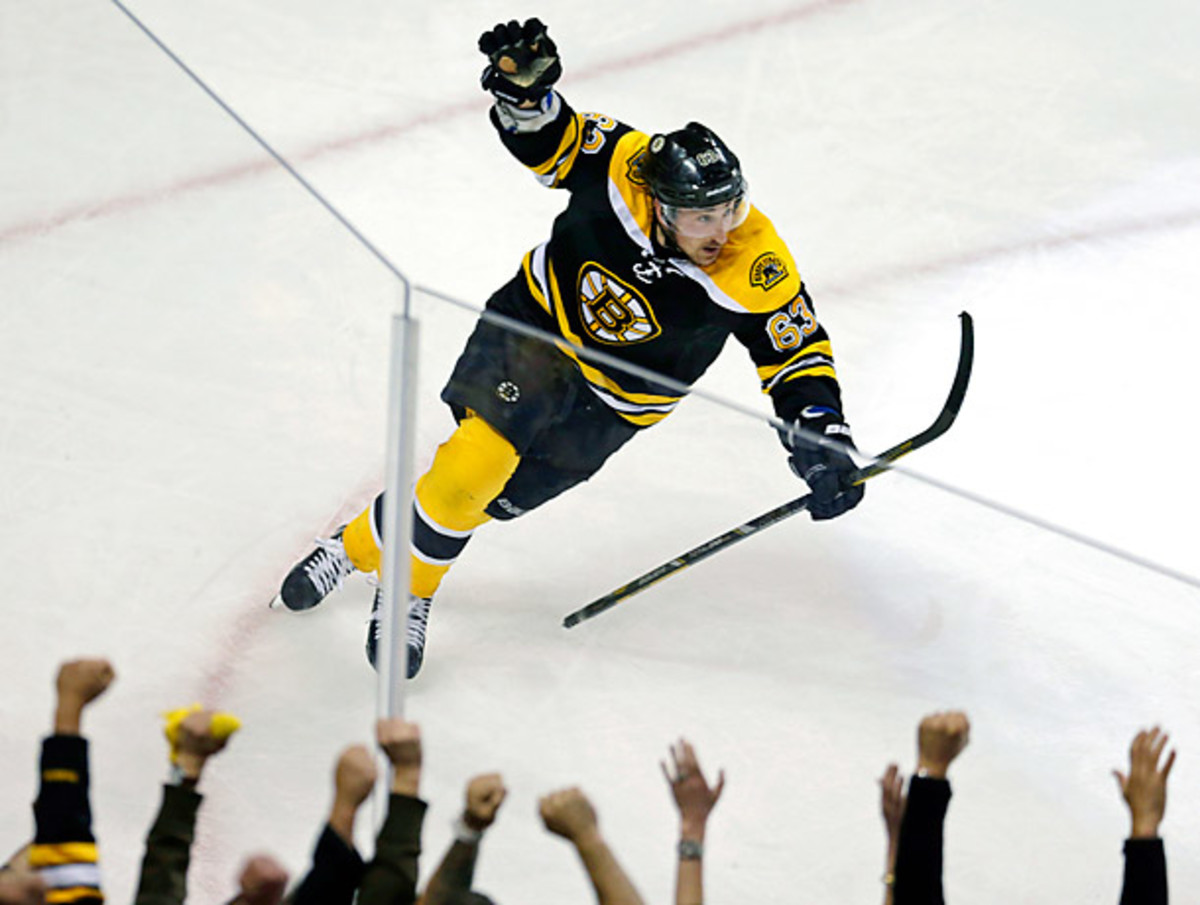 Brad Marchand finally broke through after being held to three assists in the seven-game series against the Leafs. (Charles Krupa/AP)