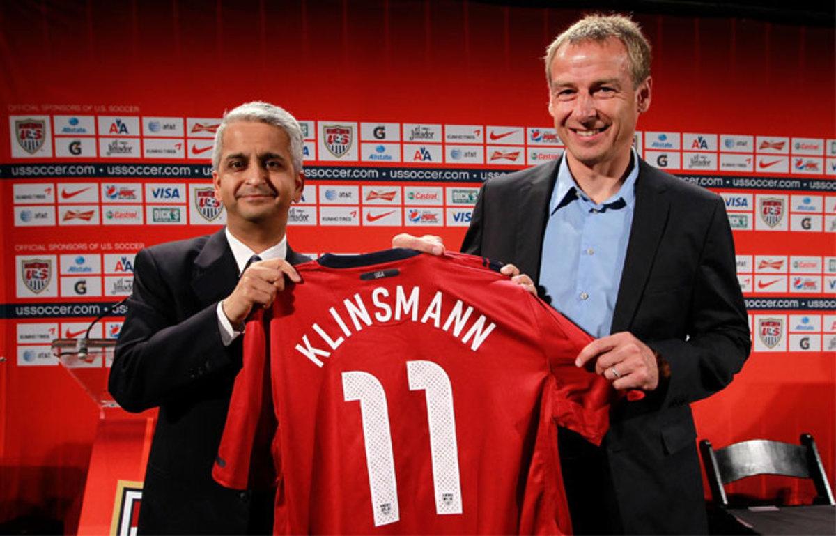 Despite early bumps, U.S. Soccer president Sunil Gulati (left) remains confident Jurgen Klinsmann is the right man to coach the USMNT.
