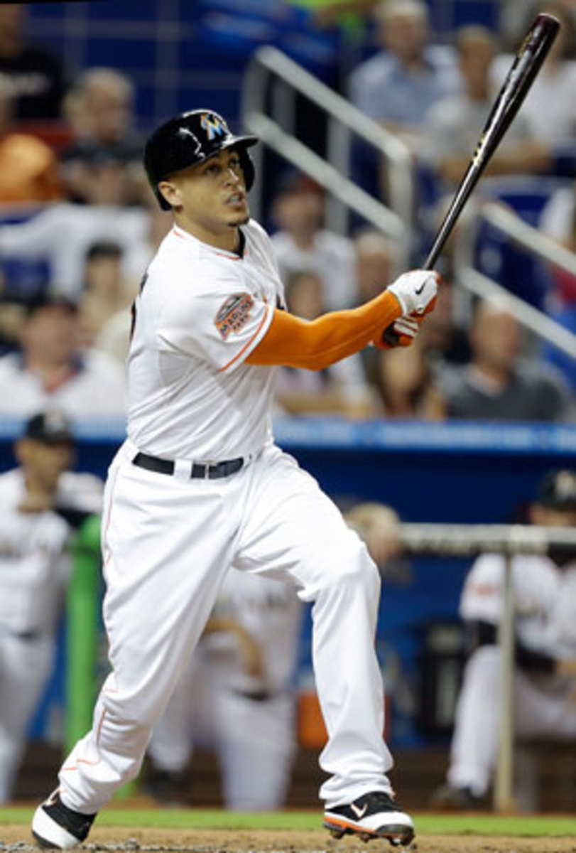 Giancarlo Stanton hit 37 home runs for the Marlins in 2012.