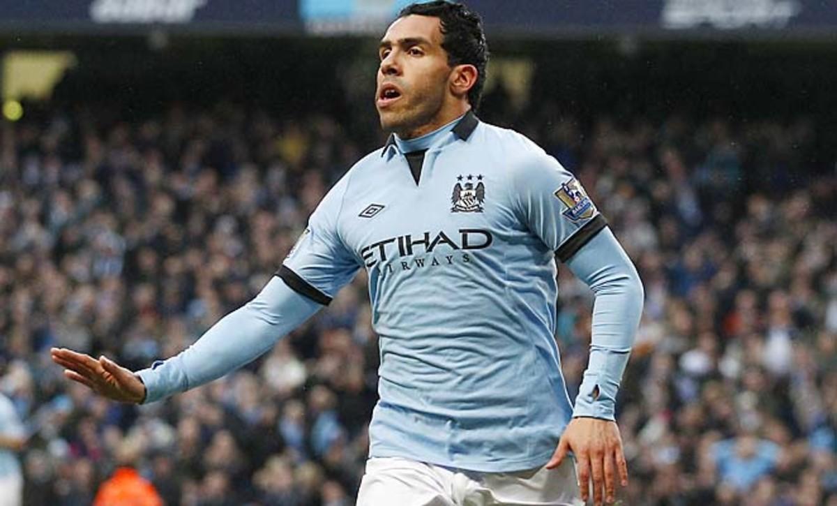 Carlos Tevez has nine goals in the Premier League for Manchester City this season.