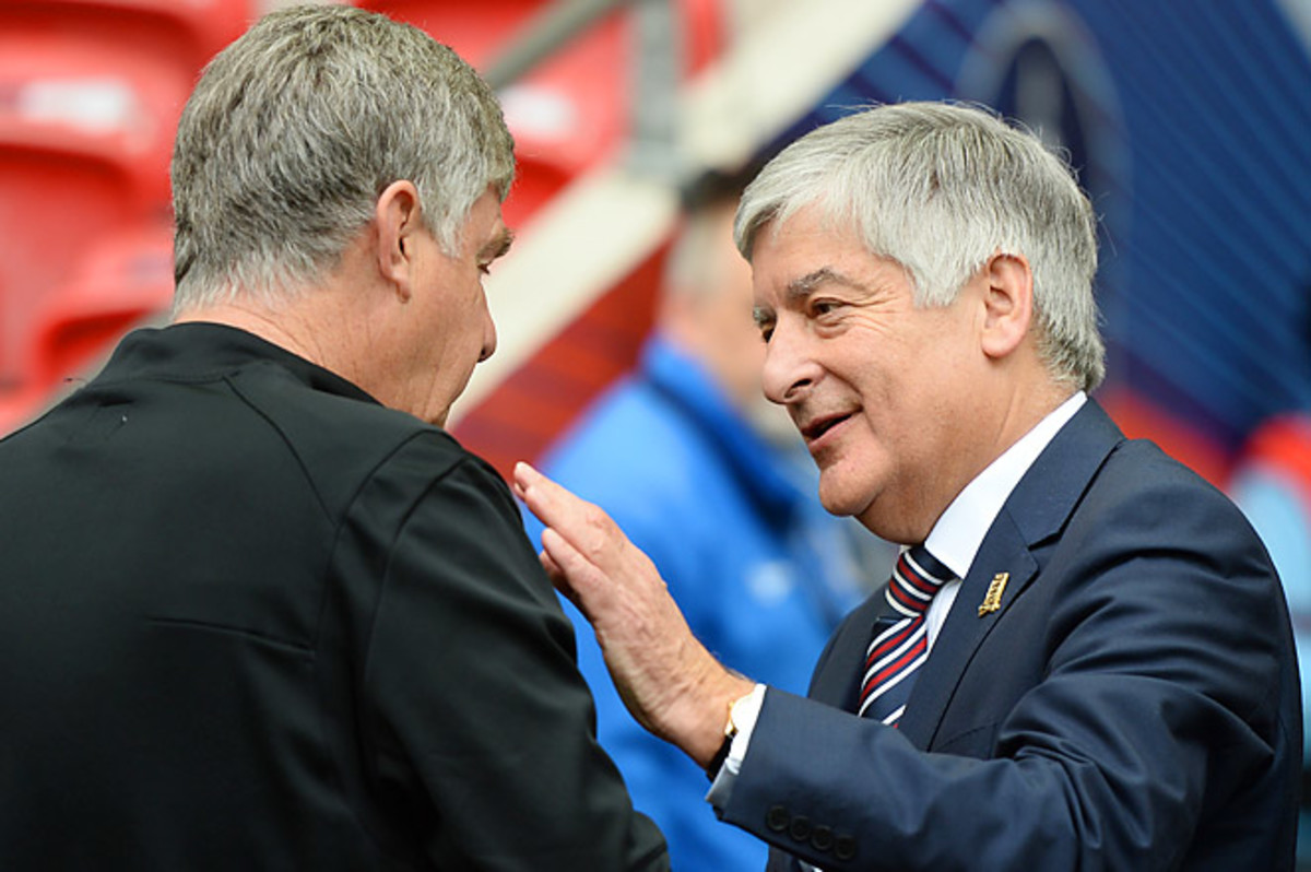 FA chairman David Bernstein, (right), says second offenses will face a minimum 10-game ban.