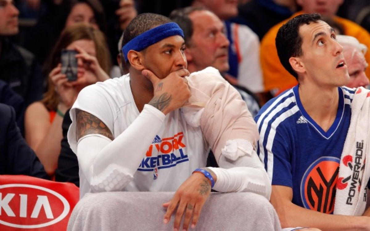 Knicks forward Carmelo Anthony is recovering from a left shoulder injury. (Jim McIsaac/Getty Images)