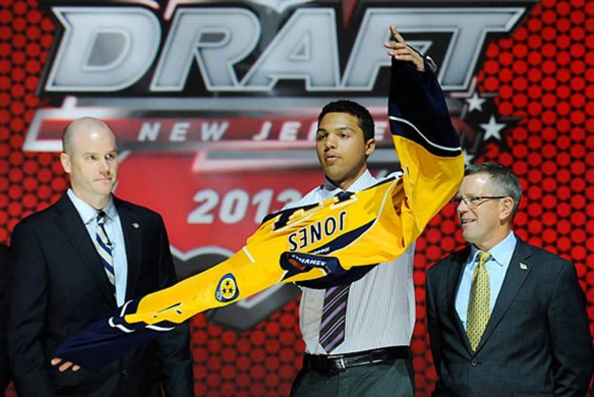 Seth Jones was chosen fourth overall by the Nashville Predators at the 2013 NHL Draft.