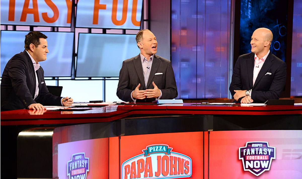 Robert Flores (left), Matthew Berry (center) and Tim Hasselbeck dole out advice on 'Fantasy Football Now,' which is seen by nearly a half-million viewers every Sunday. (Photo courtesy of ESPN)