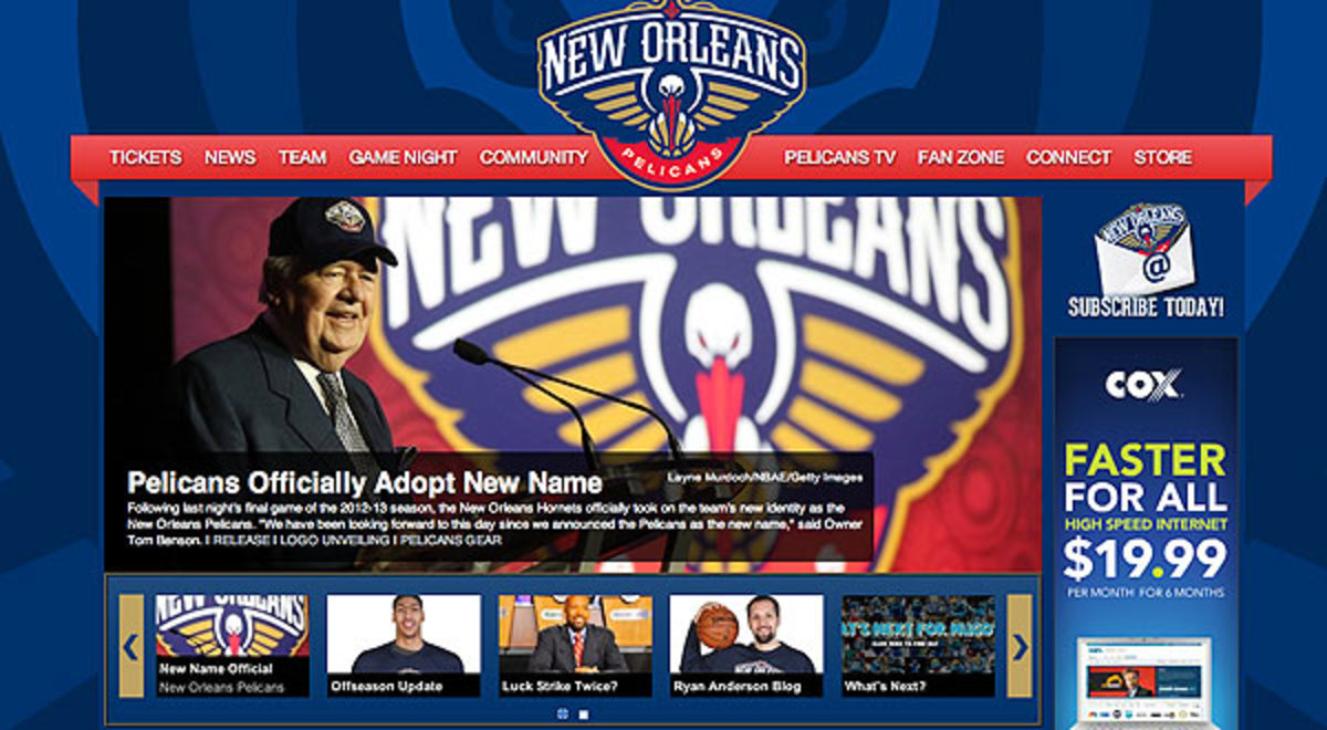 The Hornets officially changed their name to the Pelicans. (Pelicans.com)