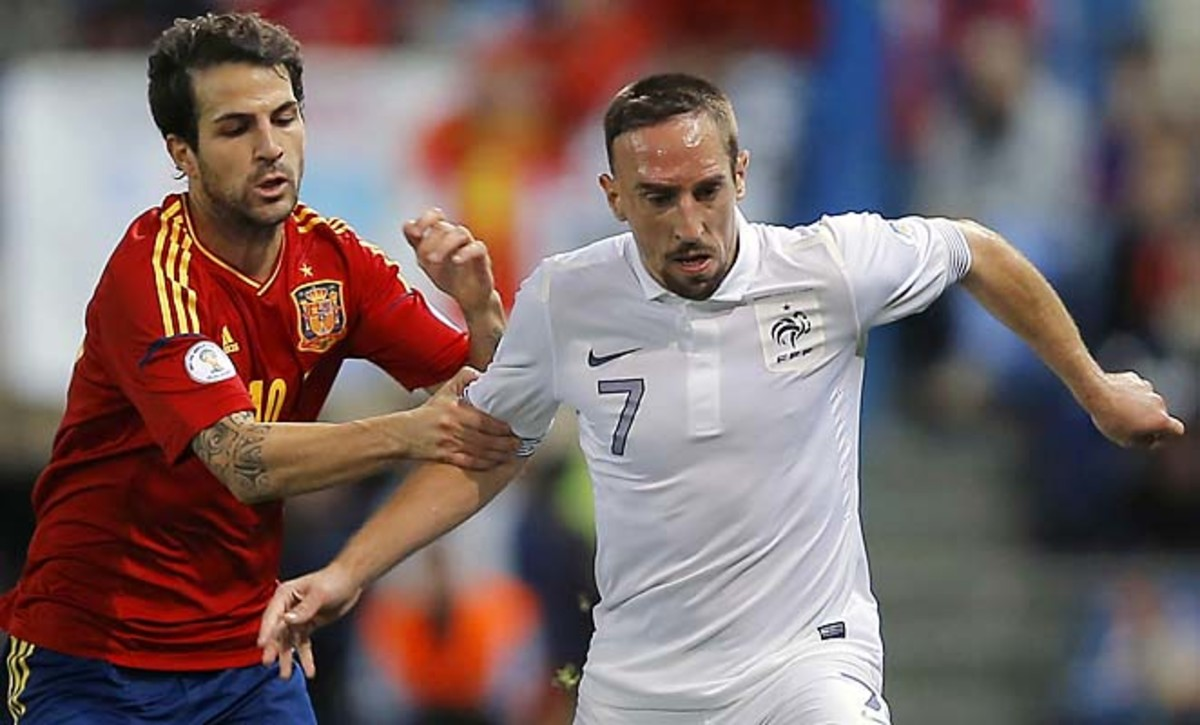 Cesc Fabregas and Spain will face Franck Ribery and France next week.