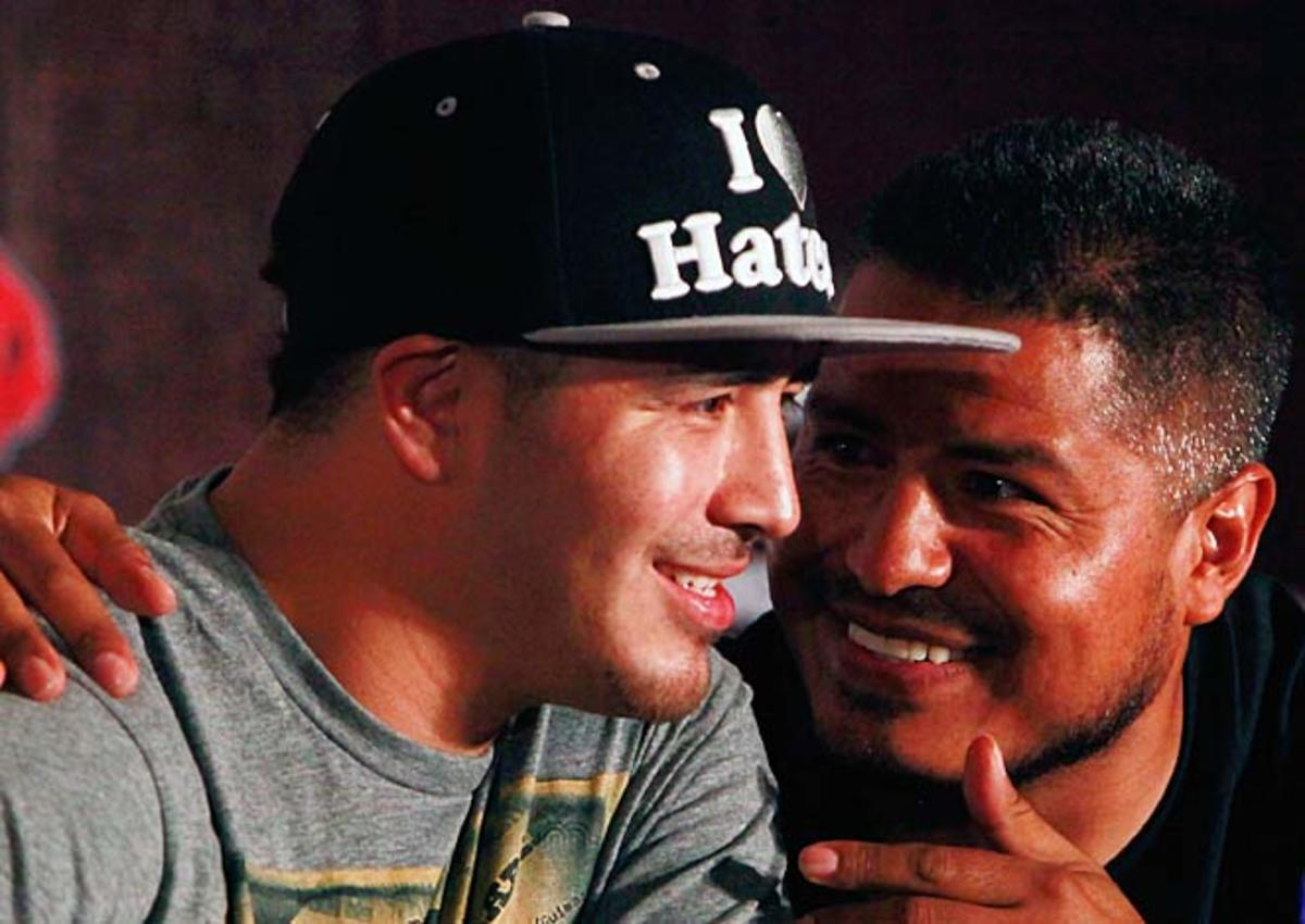 Brandon Rios' trainer Robert Garcia (right) sees Manny Pacquaio as a declining, vulnerable fighter.