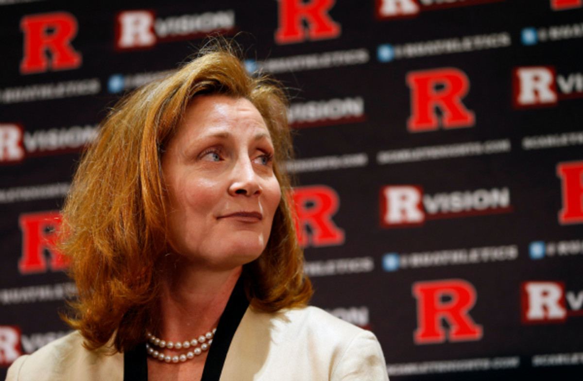 Julie Hermann, Rutgers' recently appointed AD, will keep her job despite allegations of abuse. (Rich Schultz/Getty Images)