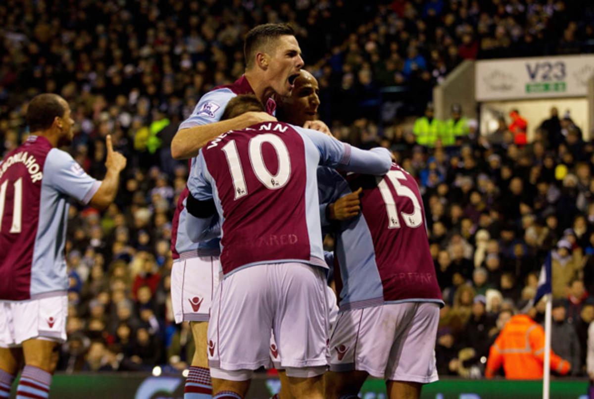 Aston Villa celebrates Ashley Westwood's equalizing goal in Monday's 2-2 draw with West Brom.