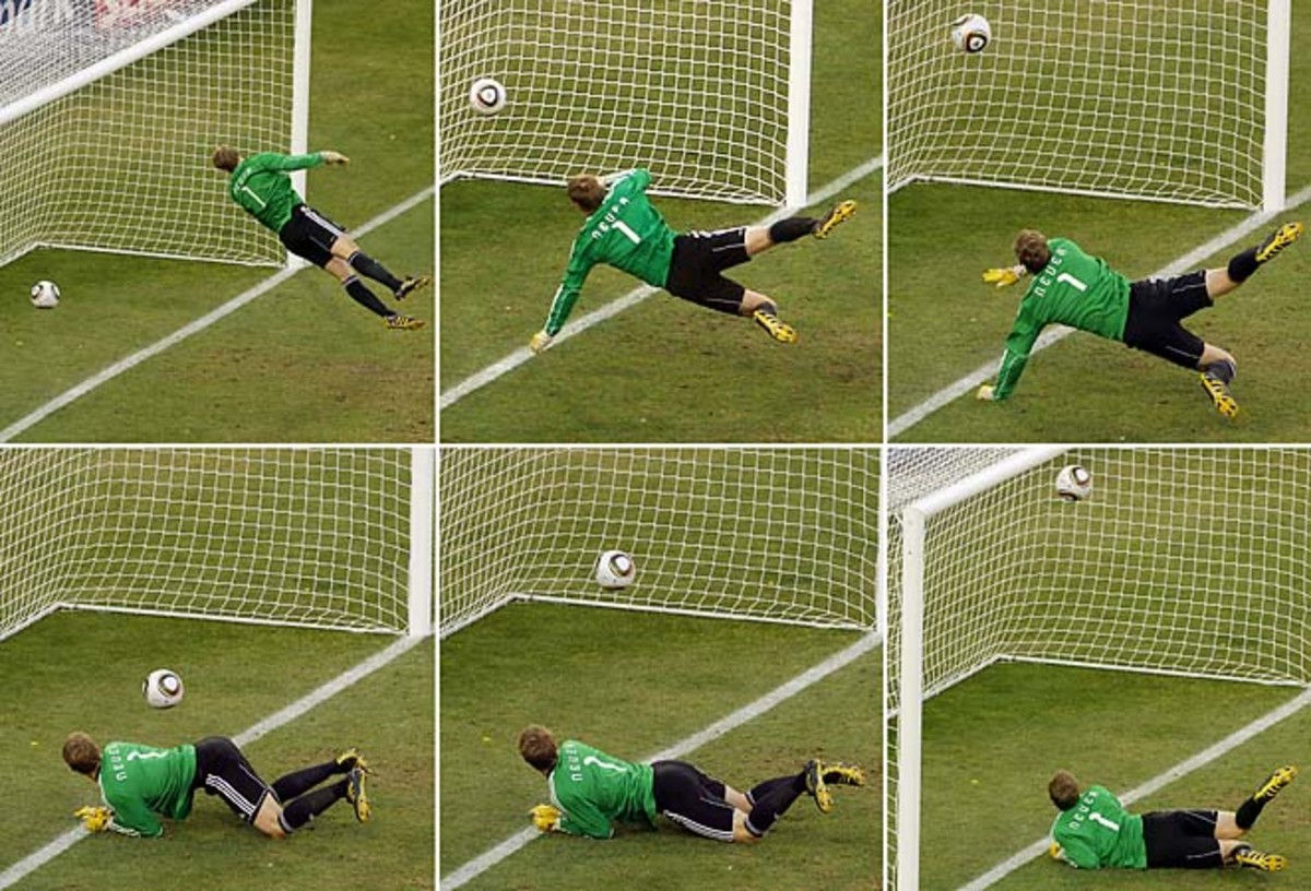 German goalkeeper Manuel Neuer looks at a ball that hit the bar to bounce over the line during a 2010 World Cup match between Germany and England.