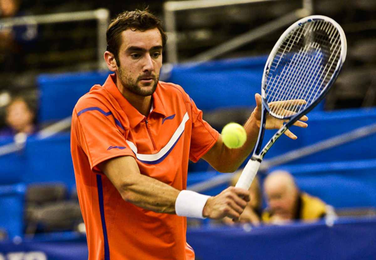 The only seeded player in action Monday, Marin Cilic advanced at the U.S. Indoor Championships.