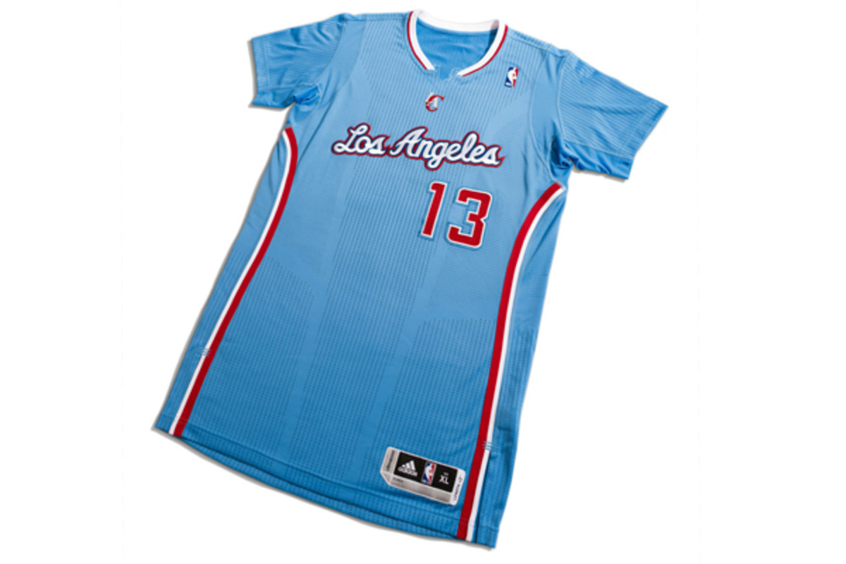 The Clippers have unveiled a blue, sleeved alternate jersey. (Adidas)