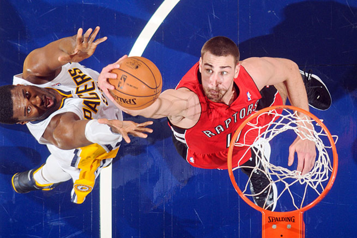Jonas Valanciunas averaged 13.5 points and nine rebounds per 36 minutes as a rookie last season.