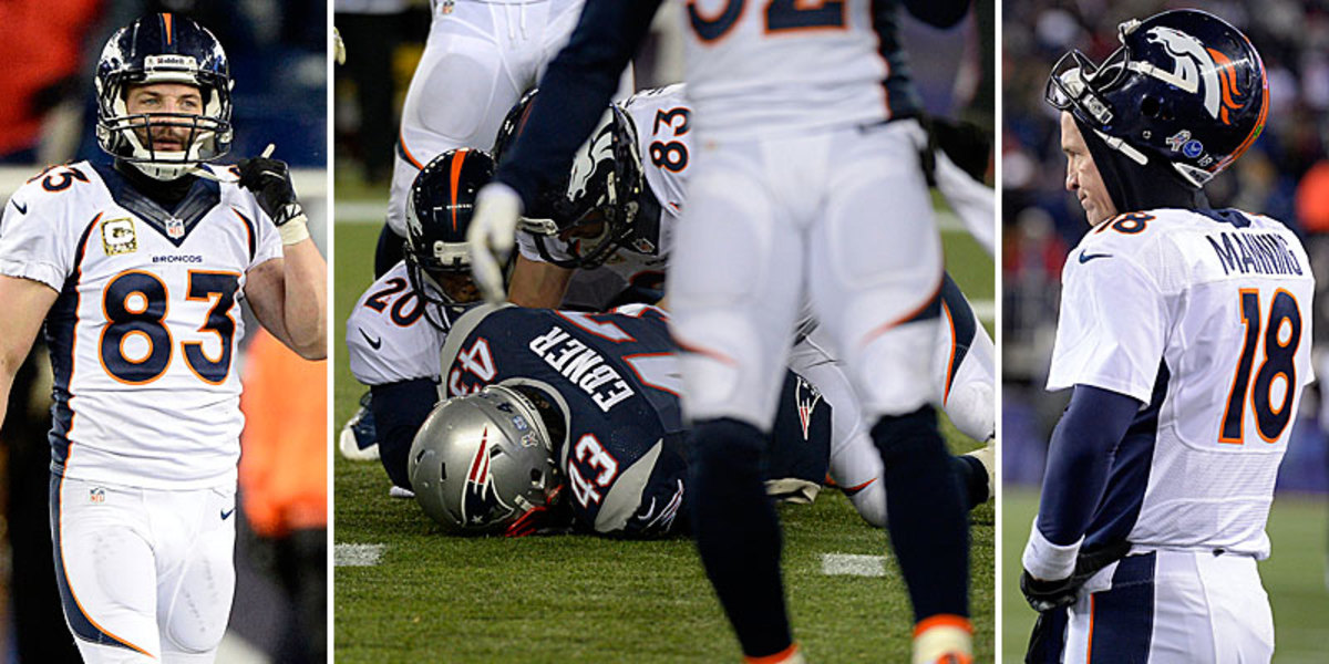 Wes Welker took the blame for the punt-return turnover that ultimately led to the Patriots win, spoiling a 24-0 Broncos halftime lead. (Joe Amon/Getty Images :: John Leyba/Getty Images [2])