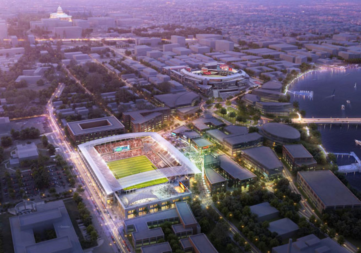 D.C. United's new stadium would be located south of Nationals Park and in view of the Capitol.