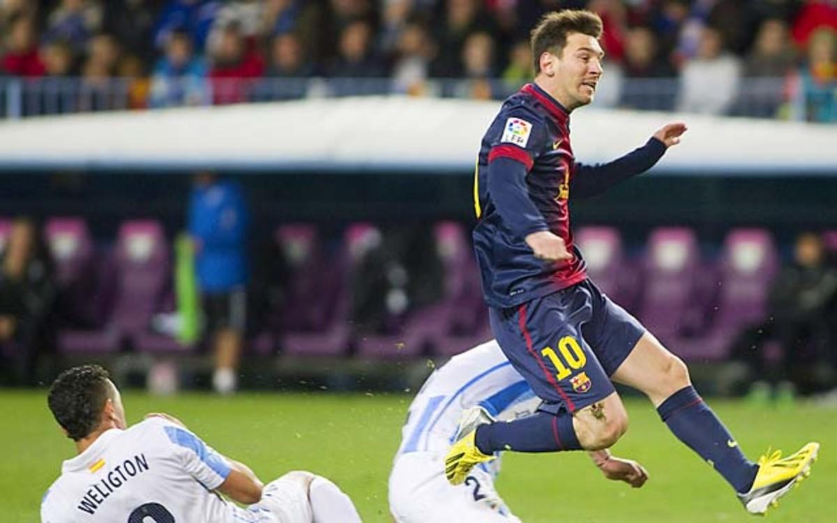 Lionel Messi and Barcelona lead La Liga and are into the Champions League last 16.