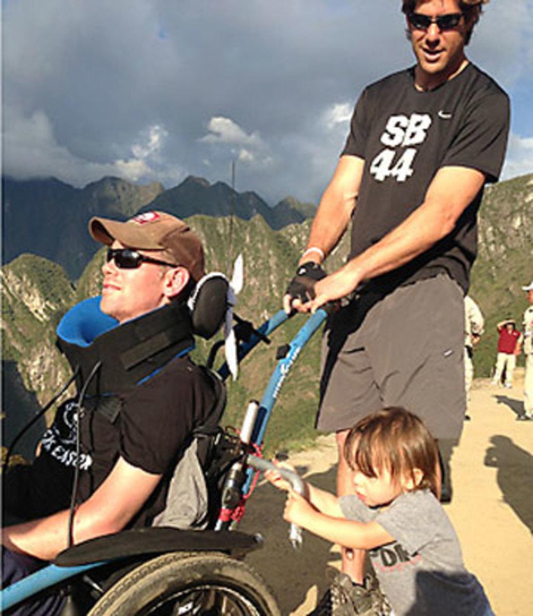 Steve Gleason, son Rivers and former teammate Scott Fujita on a trip to Machu Picchu. (Courtesy of Gleason family)