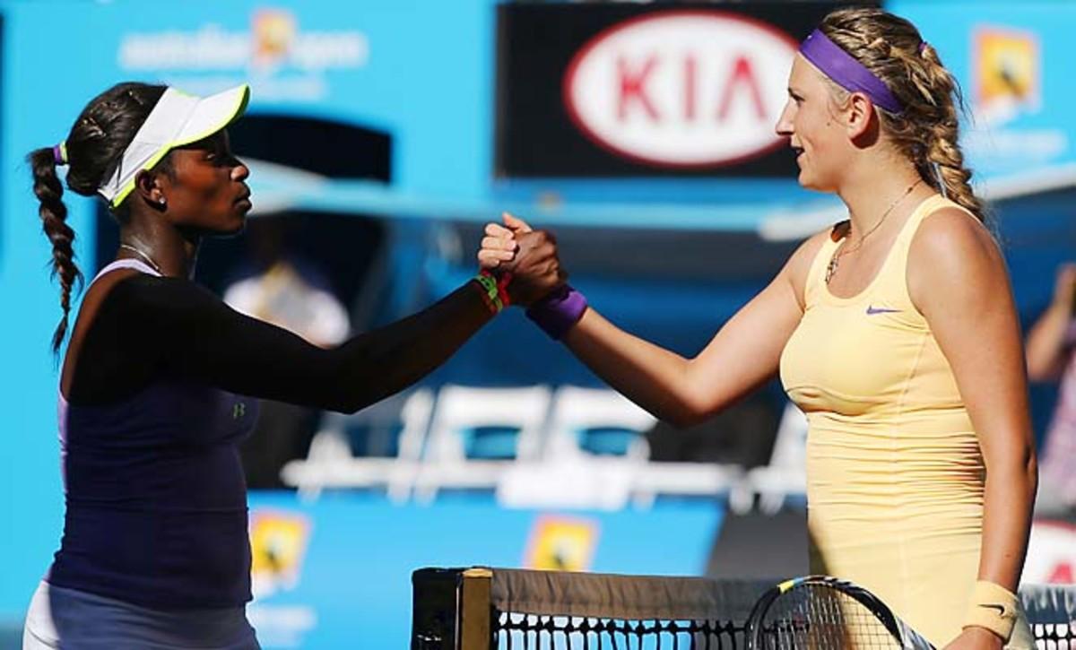 Victoria Azarenka (right) will face Li Na in the Australian Open final on Saturday.