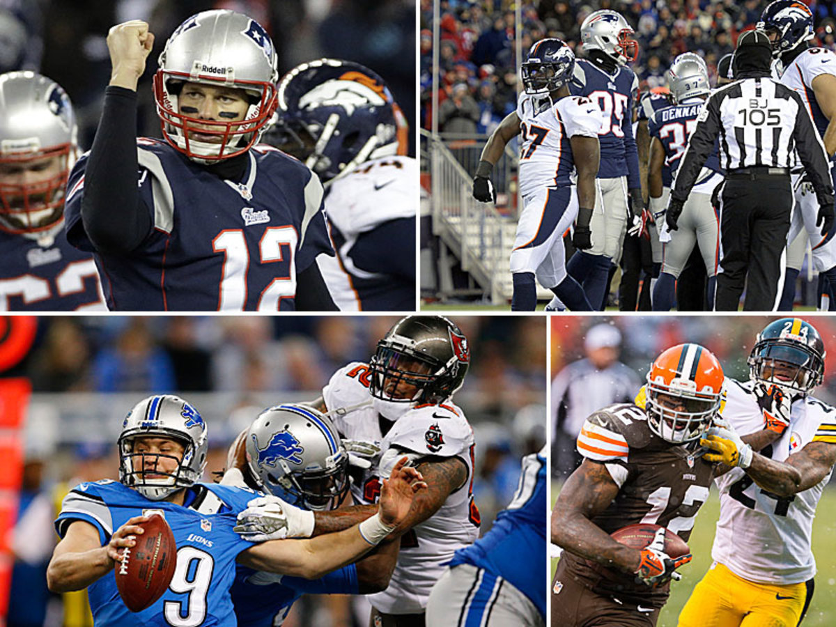 Tom Brady added another highlight to his Hall-worthy career (top left), while Matthew Stafford had ball security issues (bottom left). Knowshon Moreno (top right, 224 yards) and Josh Gordon (bottom right, 237) had career yardage days. (Stephan Savoia/AP :: John Leyba/Getty Images :: Paul Sancya/AP :: Jason Miller/Getty Images)