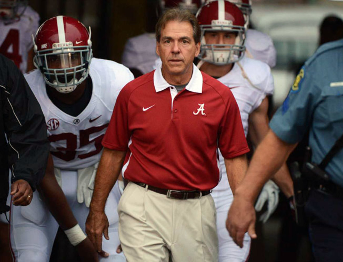 A University of Texas regent contacted the agent of Alabama head coach Nick Saban (above) in January.