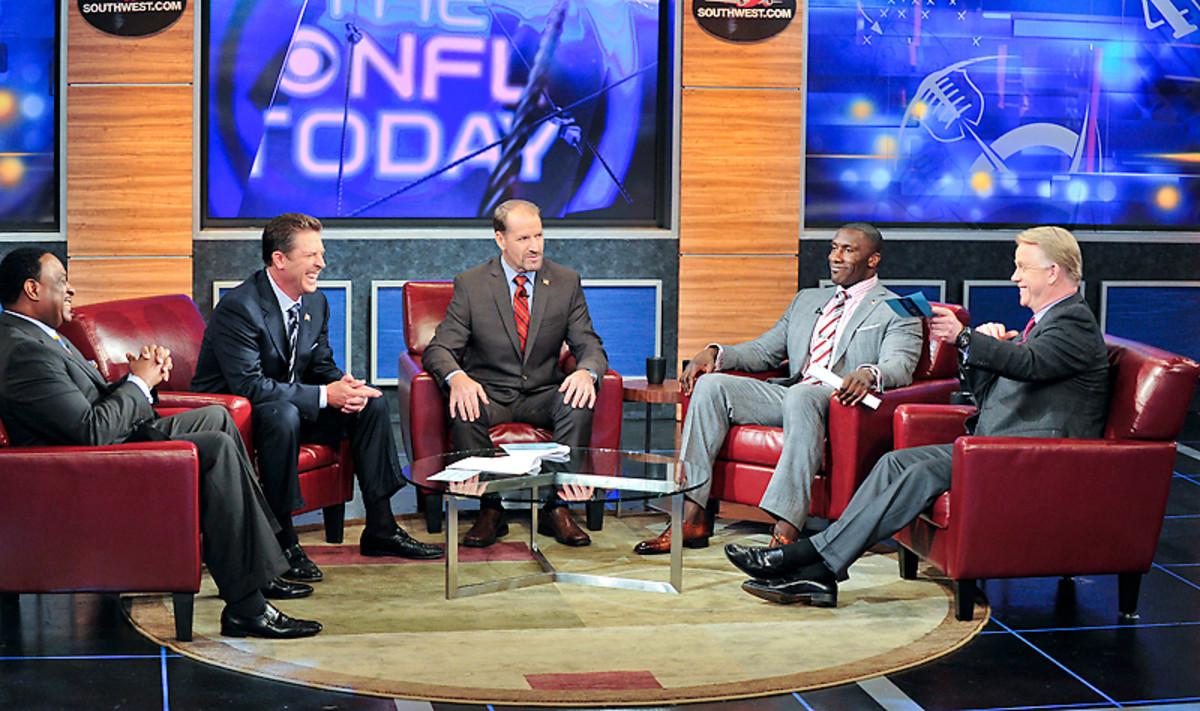 The NFL Today crew (L to R: James Brown, Dan Marino, Bill Cowher, Shannon Sharpe and Boomer Esiason)