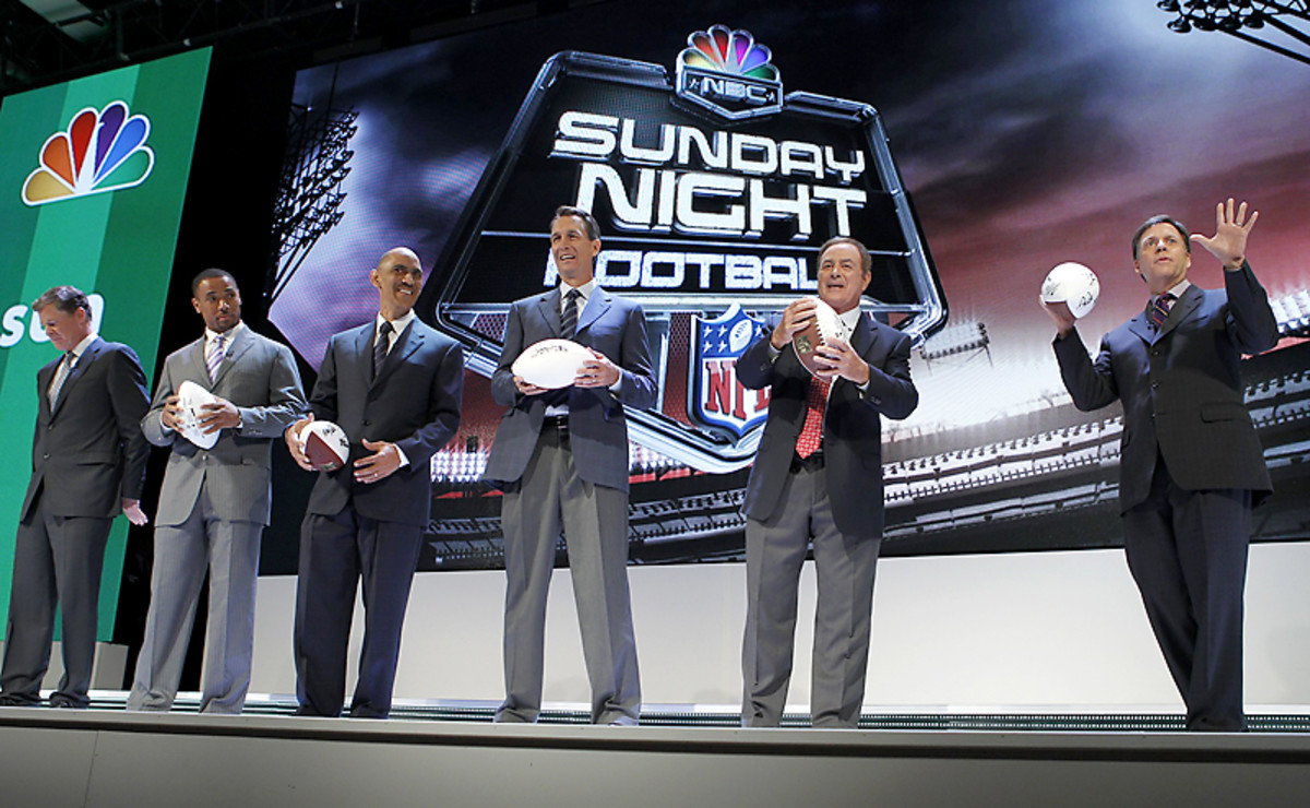 NBC's Sunday night crew (From L to R: Dan Patrick, Rodney Harrison, Tony Dungy, Cris Collinsworth, Al Michaels and Bob Costas)