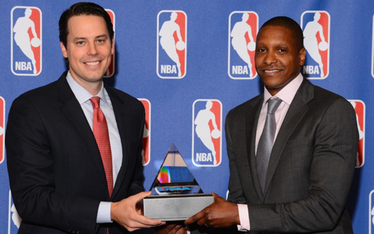 Nuggets presdient Josh Kroenke may lose Executive of the Year Masai Ujiri to the Raptors. (Garrett Ellwood/NBAE via Getty Images)
