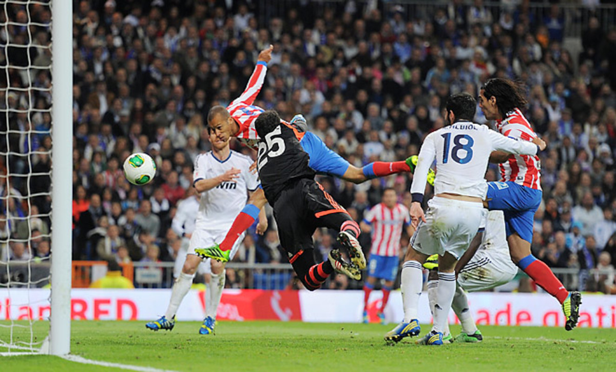 Joao Miranda scored the winning goal in extra time as Atletico Madrid defeated Real Madrid.