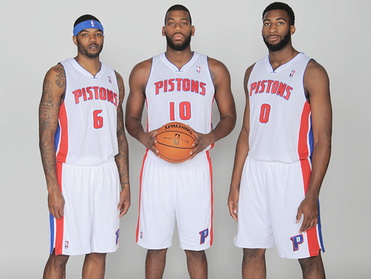 The Pistons' big frontcourt features (from left) Josh Smith, Greg Monroe and Andre Drummond.