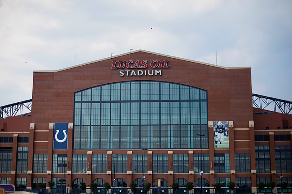 Lucas Oil Stadium in Indianapolis hosted the 2012 Super Bowl between the Giants and the Patriots.