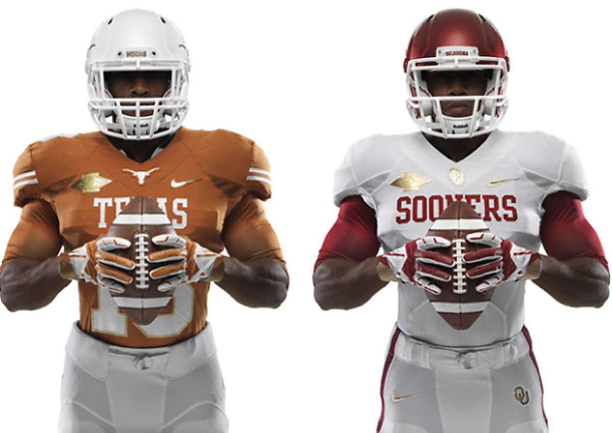 Texas and Oklahoma will sport these gold-trimmed jerseys at Saturday's Red River Rivalry.
