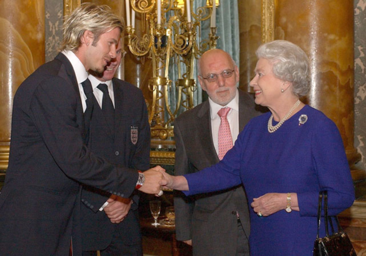 David Beckham, Sven Goran Eriksson, Geoffrey Thompson and Queen Elizabeth II