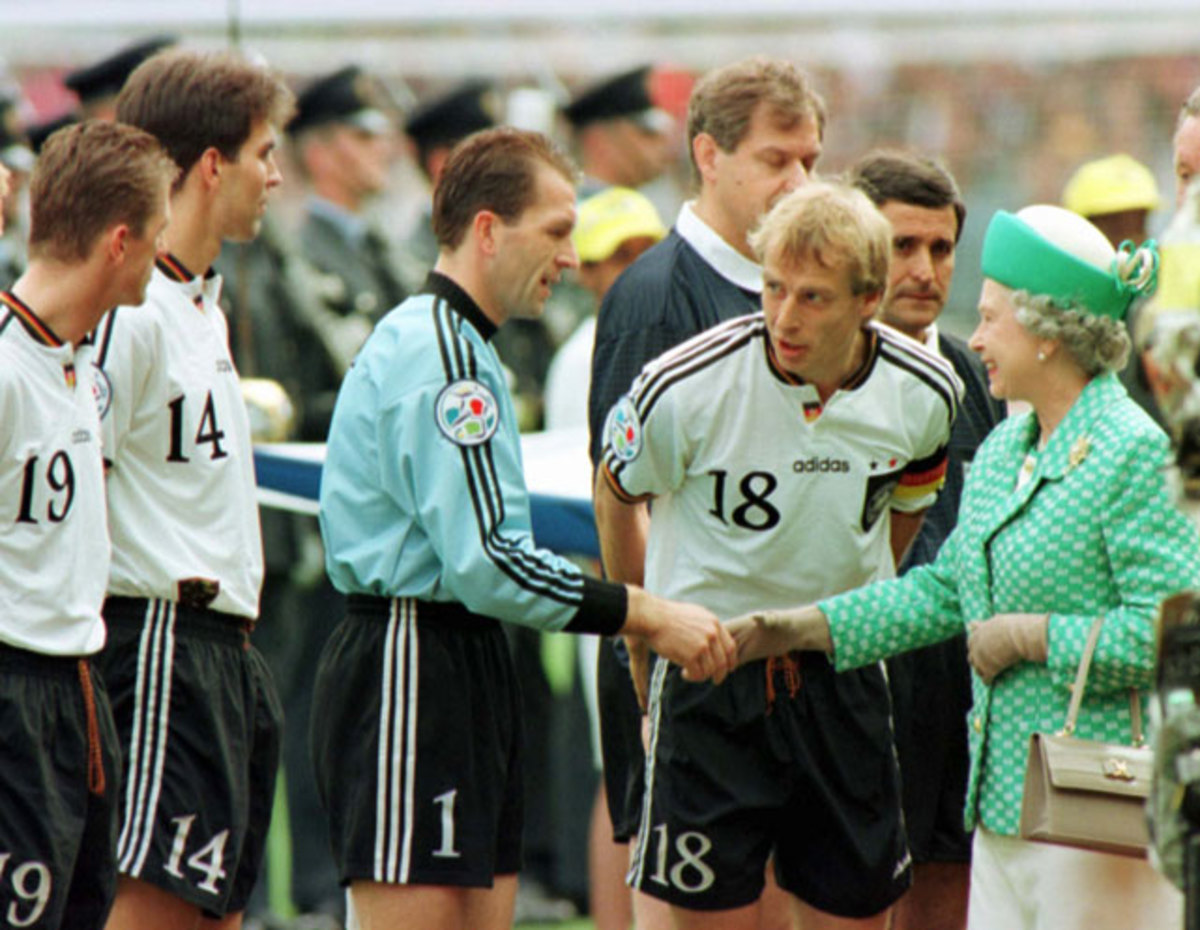 Queen Elizabeth II and German soccer team