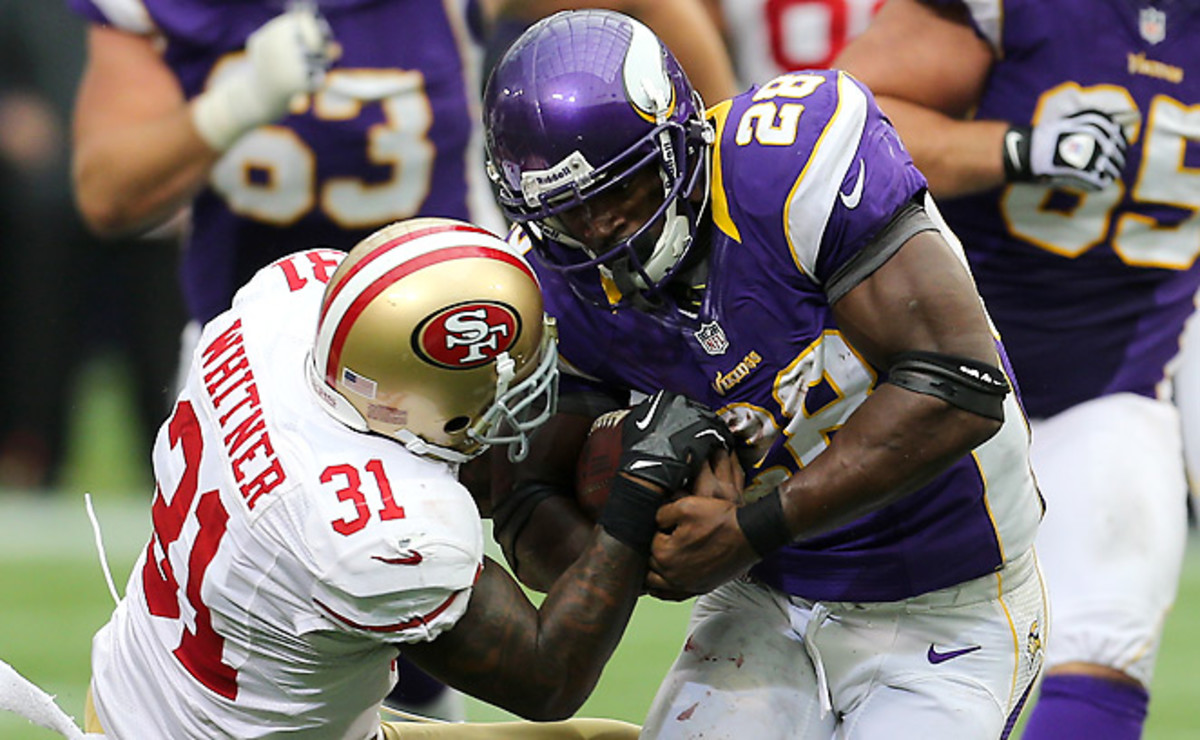 For a back like Adrian Peterson, who embraces contact, the new helmet rule could be confusing.