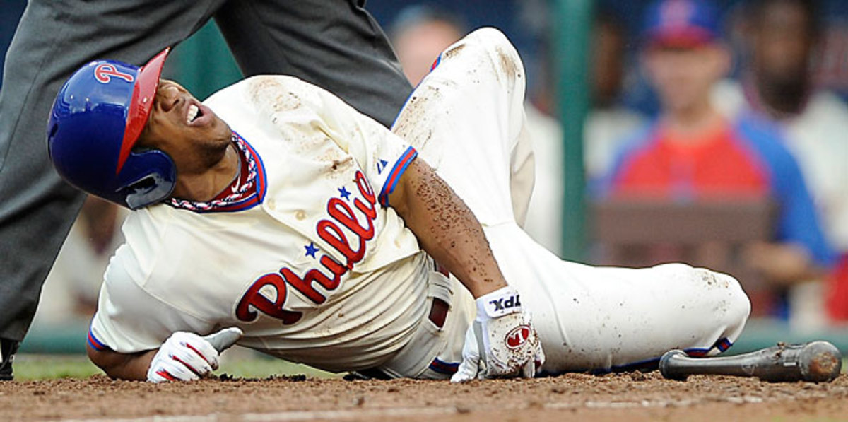 Ben Revere fouled a ball off his foot on Saturday during a loss to the White Sox.