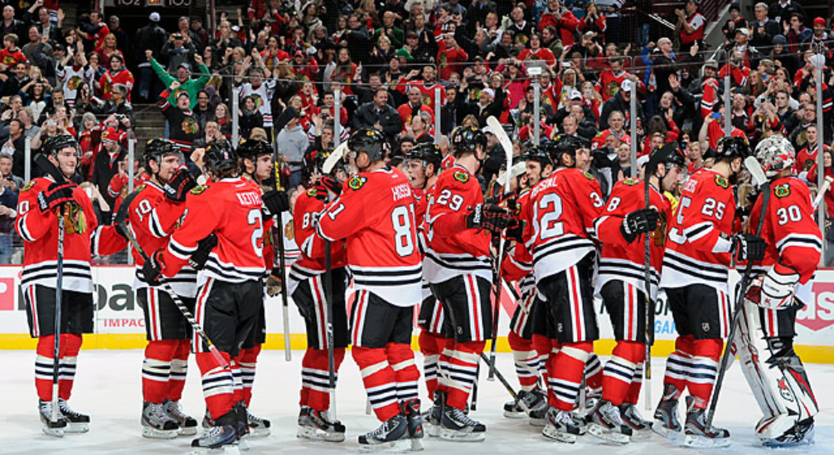 The Blackhawks made  NHL history after besting the Sharks 2-1 Friday night. (Bill Smith/NHLI via Getty Images)