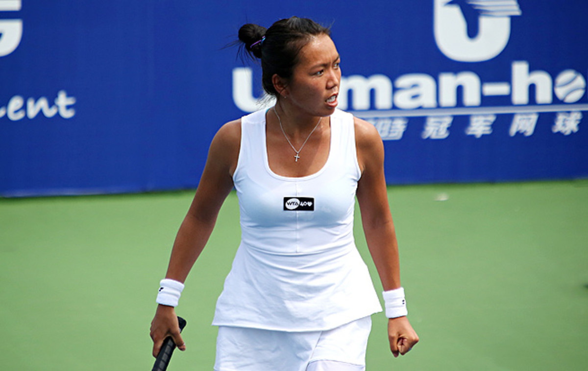 Vania King defeated No. 8-seed Monica Puig 1-6, 7-5, 7-6 (5) to advance to the semis in Guangzhou.