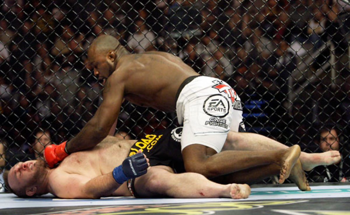"""""""King Mo"""" Lawal defeated Mike Whitehead in a 2009 Strikeforce bout with a first round knockout."""