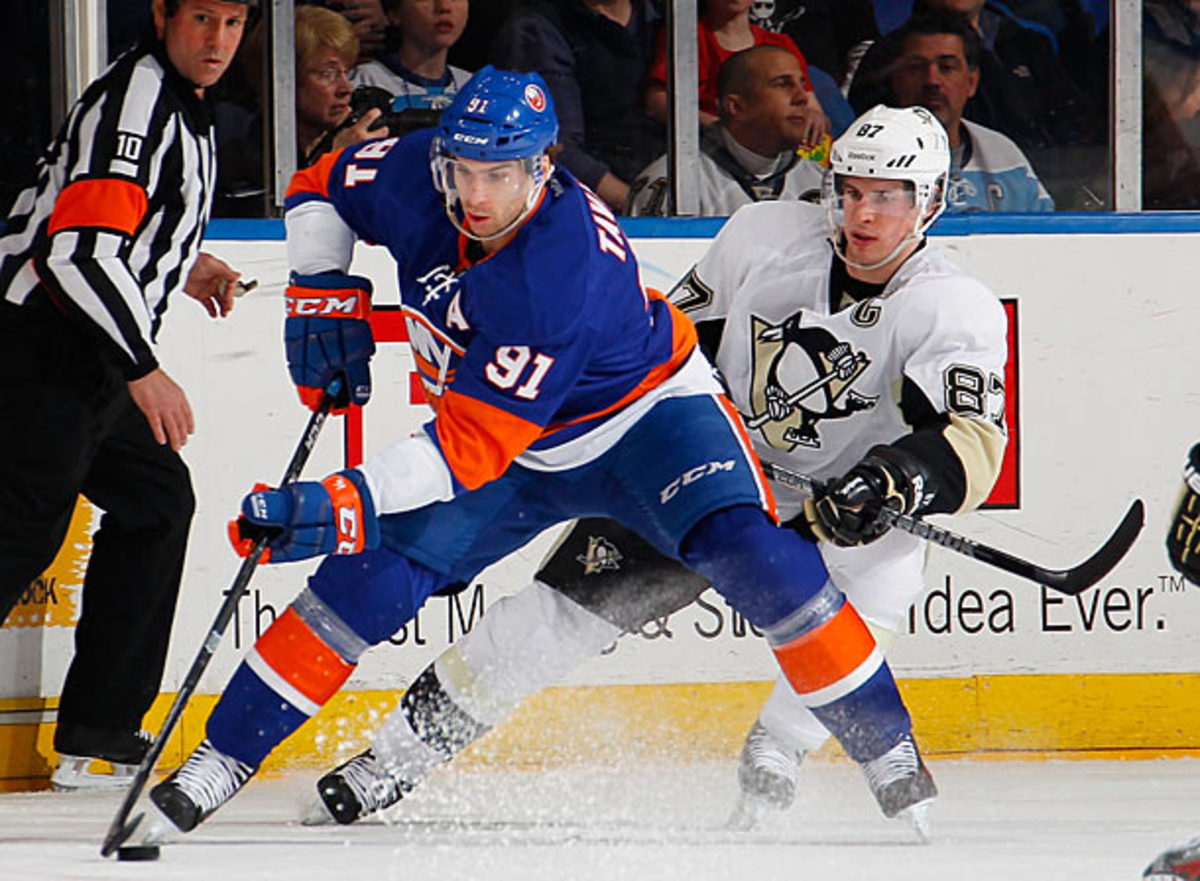 John Tavares makes his NHL playoff debut against Sidney Crosby and the Penguins.
