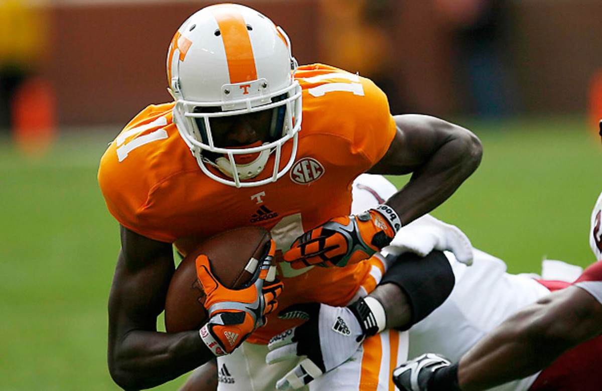 Justin Hunter's blend of size, speed and skill should allure teams looking for a wideout after the first round. (Skip Williams/Icon SMI)