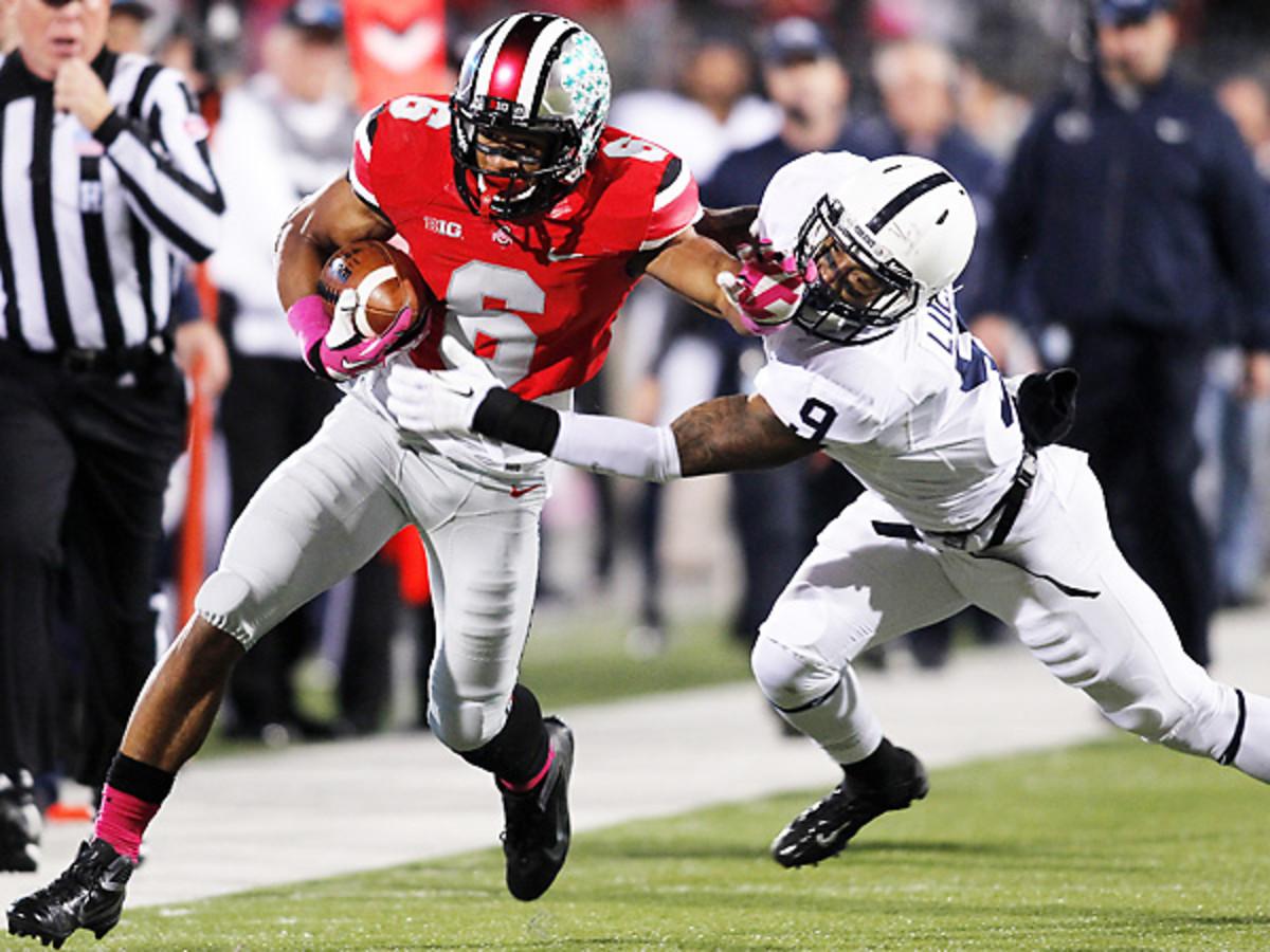 Talkative Ohio State WR Evan Spencer (6) has three touchdown catches this season. (Paul Vernon/AP)