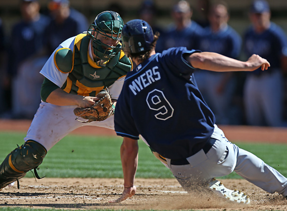 The Rays had hard luck all weekend as they were swept by the A's. [Brad Magnin/Getty Images]